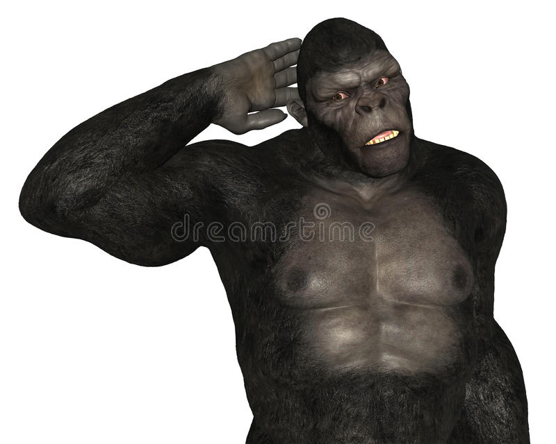 Gorilla Ape Listening Isolated vector illustratie