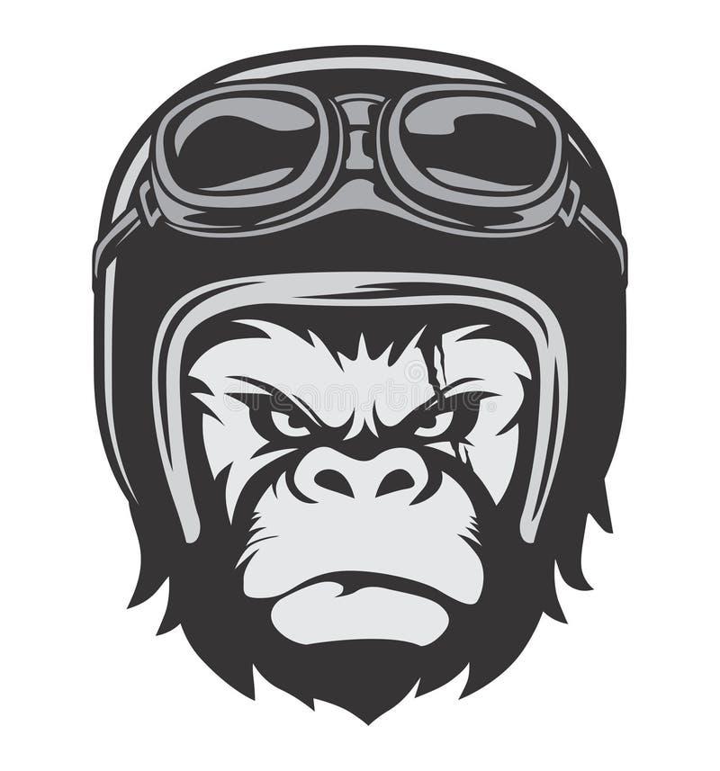 Gorilla Bikers Helmet stock illustratie