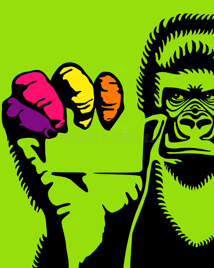 Gorilla And A Card Stock Image