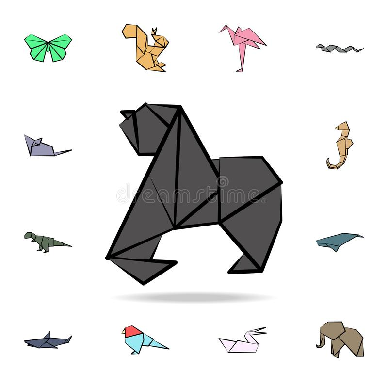 Gorilla colored origami icon. Detailed set of origami animal in hand drawn style icons. Premium graphic design. One of the. Collection icons for websites, web stock illustration