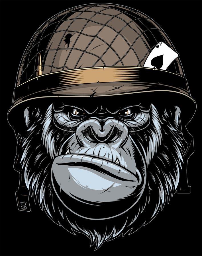 Gorilla in de militaire helm stock illustratie
