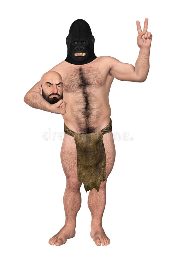 Gorilla Disguised In Human Costume-Illustratie vector illustratie