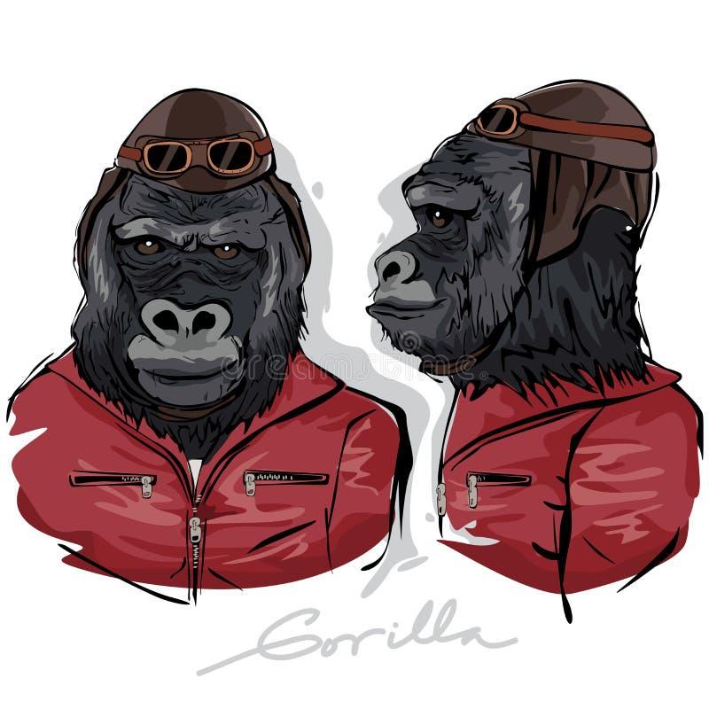 Gorilla Dressed som människapilot stock illustrationer