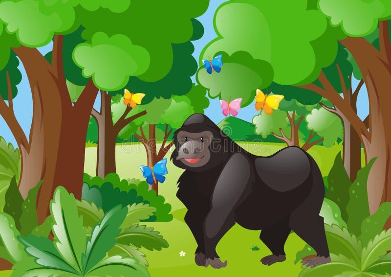 Gorilla en vlinders in het bos royalty-vrije illustratie