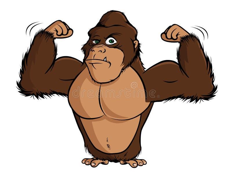 Gorilla flexing royalty free illustration
