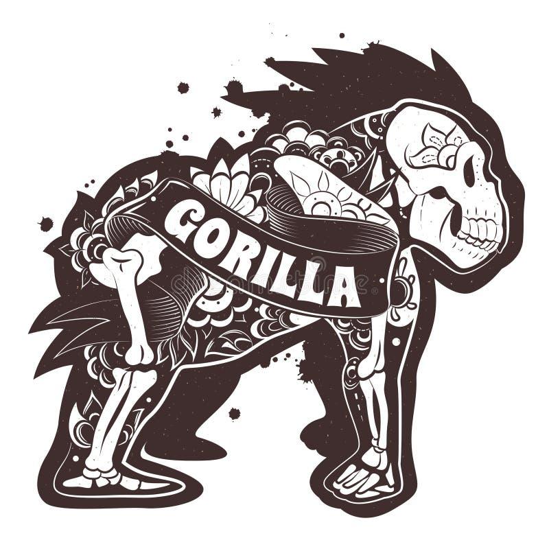 Gorilla floreale di vettore illustrazione vettoriale