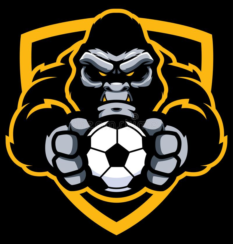 Gorilla Football Soccer Mascot royalty-vrije illustratie