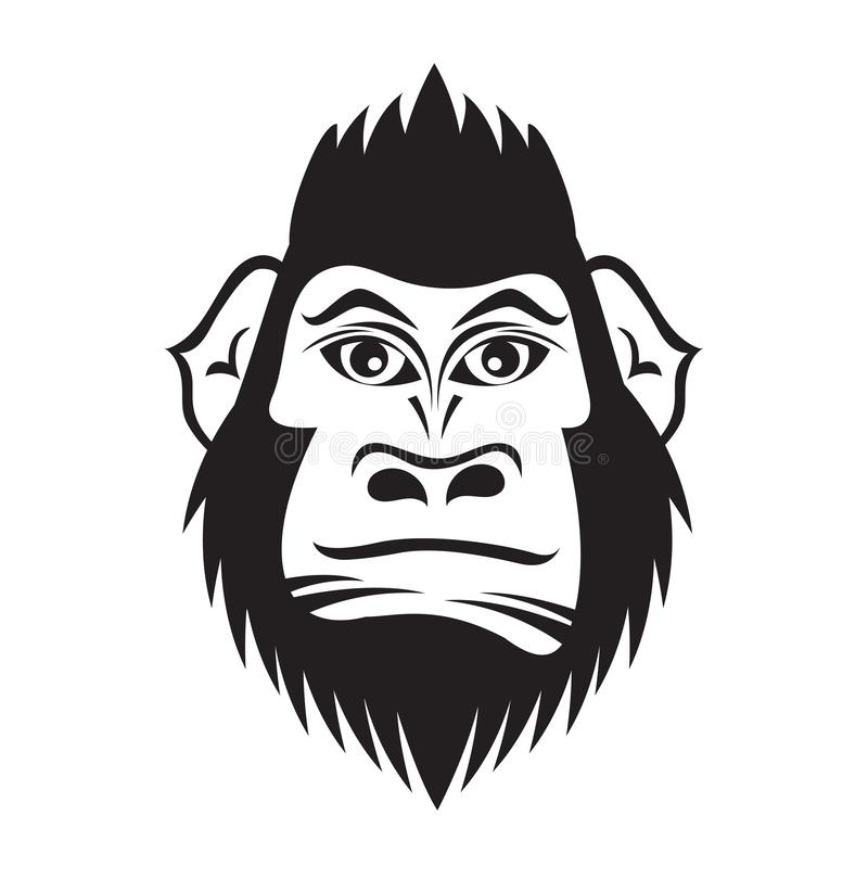 Gorilla head cartoon vector illustration for t shirt, logo, tattoo, book, cover, flyer, printing, advetisement, black and wihte royalty free illustration