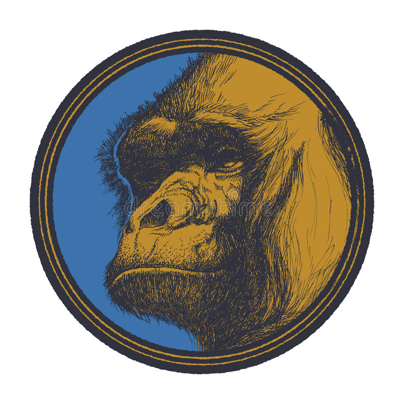 Gorilla Head Logo Mascot Emblem royalty illustrazione gratis