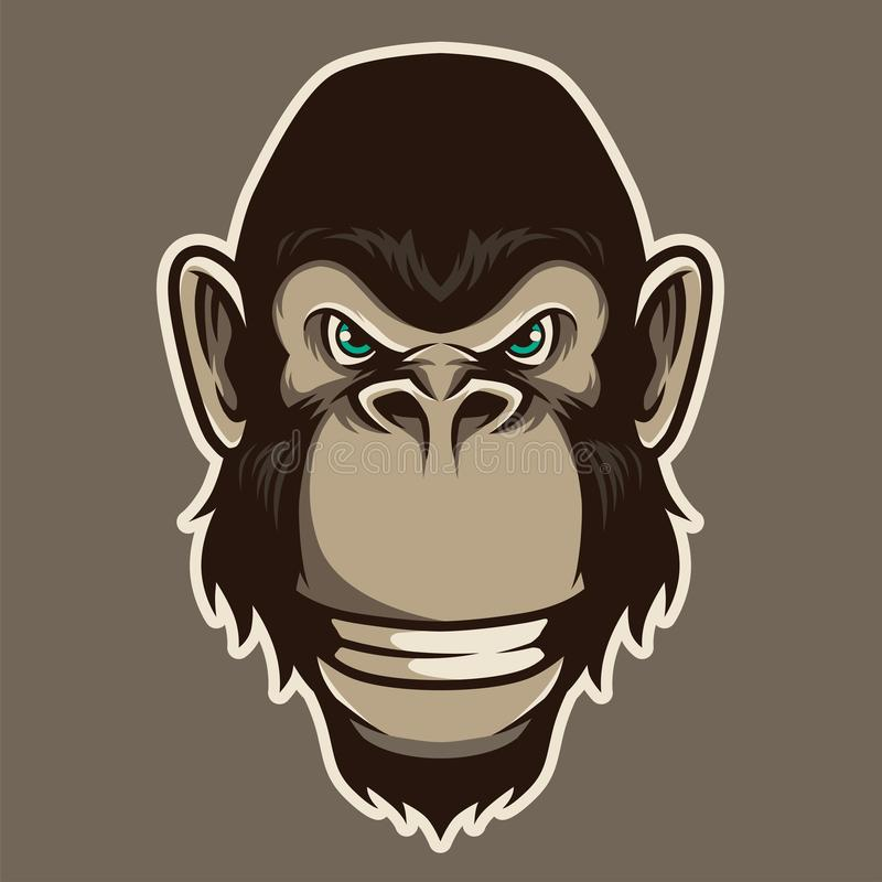 Gorilla Head Mascot Illustration Vector en estilo de la historieta libre illustration