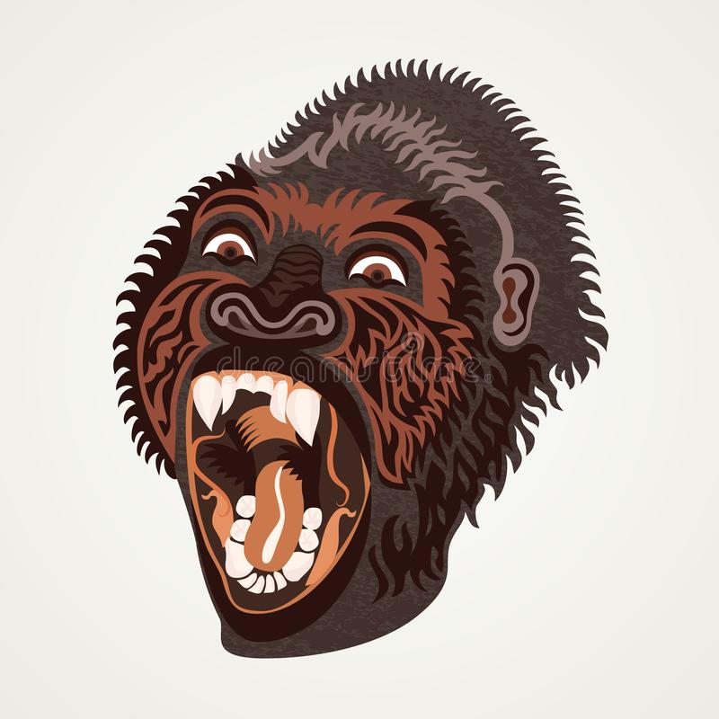 Gorilla head. Vector illustration. Angry brown gorilla. vector illustration