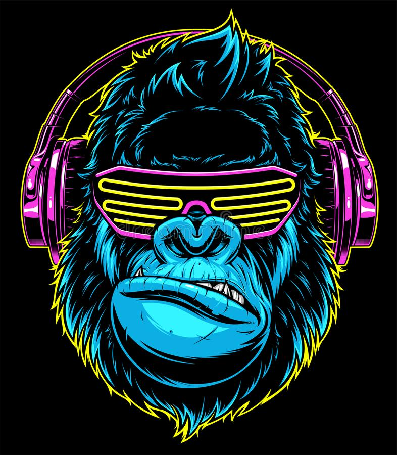 Gorilla with headphones royalty free stock images
