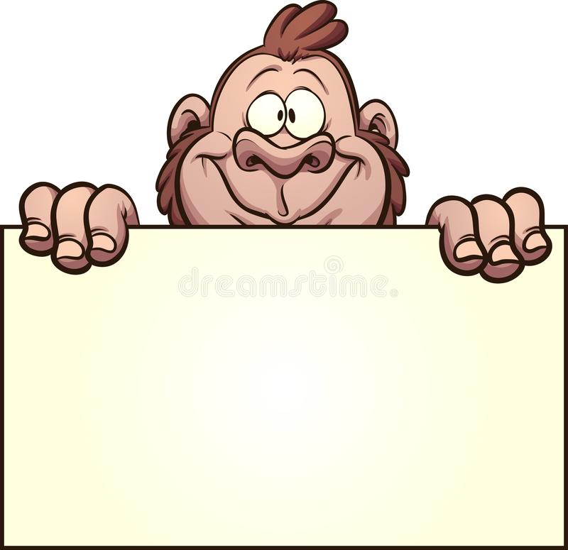 Gorilla holding a blank sign. Happy gorilla holding a blank sign. Vector clip art illustration with simple gradients. Some elements on separate layers stock illustration