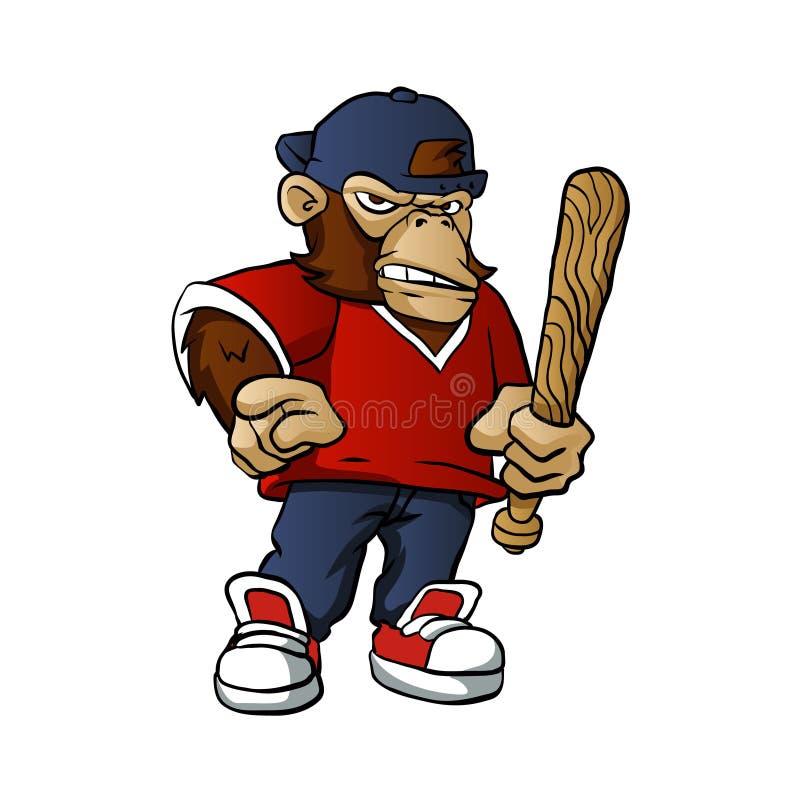 Gorilla Holding Softball Hitting Stick vektor illustrationer