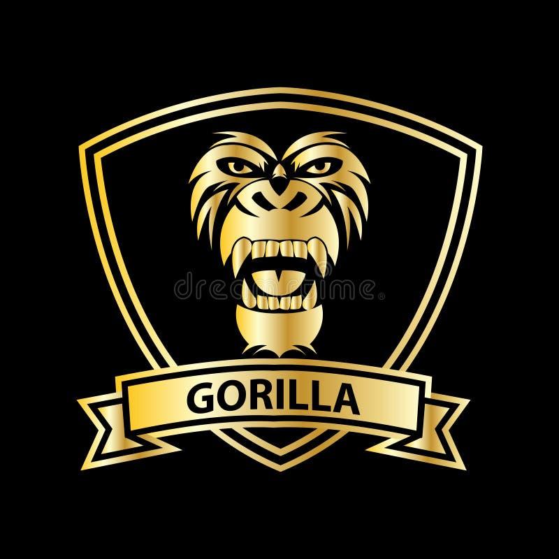 gorilla hoofd vectorembleem voor sportontwerp stock illustratie