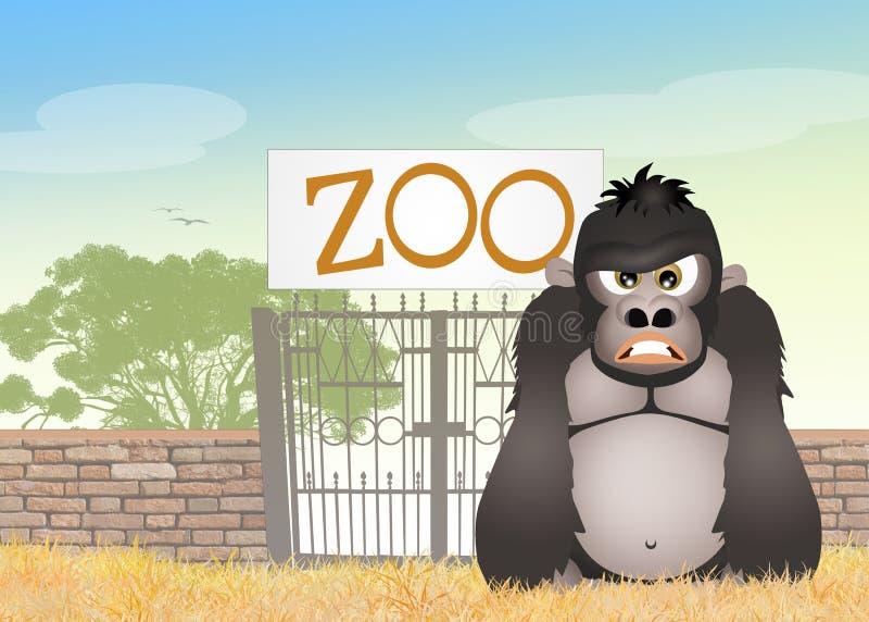 Gorilla i zoo royaltyfri illustrationer