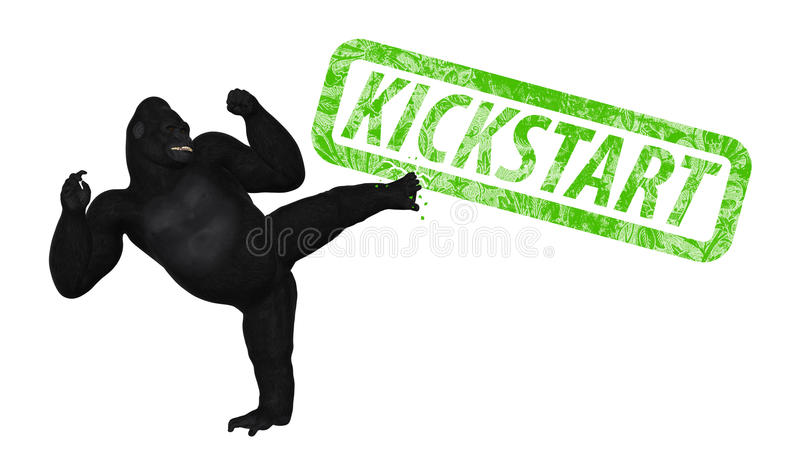 Gorilla Kicking Kickstart Project Illustration stock illustration