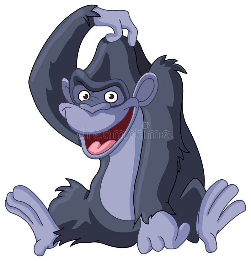 Gorilla krassend hoofd royalty-vrije illustratie