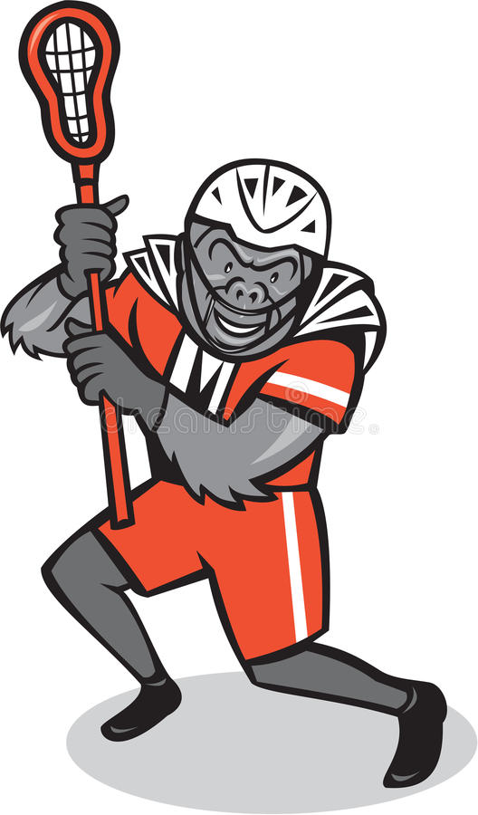 Gorilla Lacrosse Player Cartoon royalty free illustration