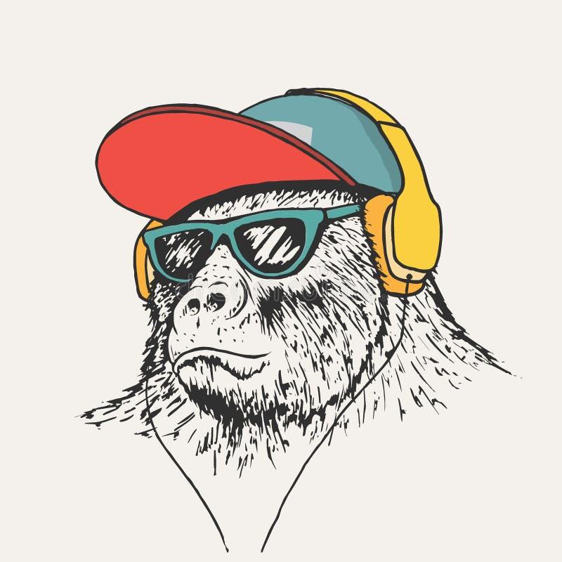Free Gorilla Listening Music In Headphones Stock Images - 129859844