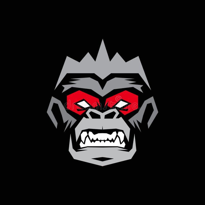 Gorilla Logo design, apalogo royaltyfri fotografi