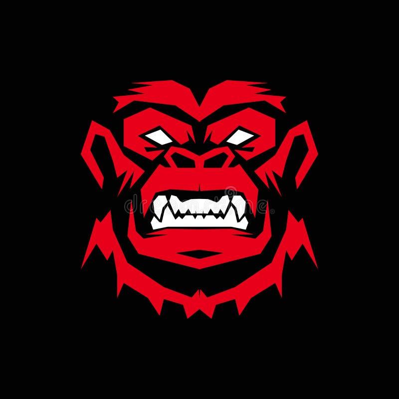 Gorilla Logo design, apalogo royaltyfri bild