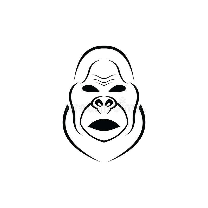 Gorilla Logo Design, icon, Vector, illustration. Ape, graphic, monkey, silhouette, symbol, angry, animal, art, background, black, cartoon, cat, chimp, cut vector illustration