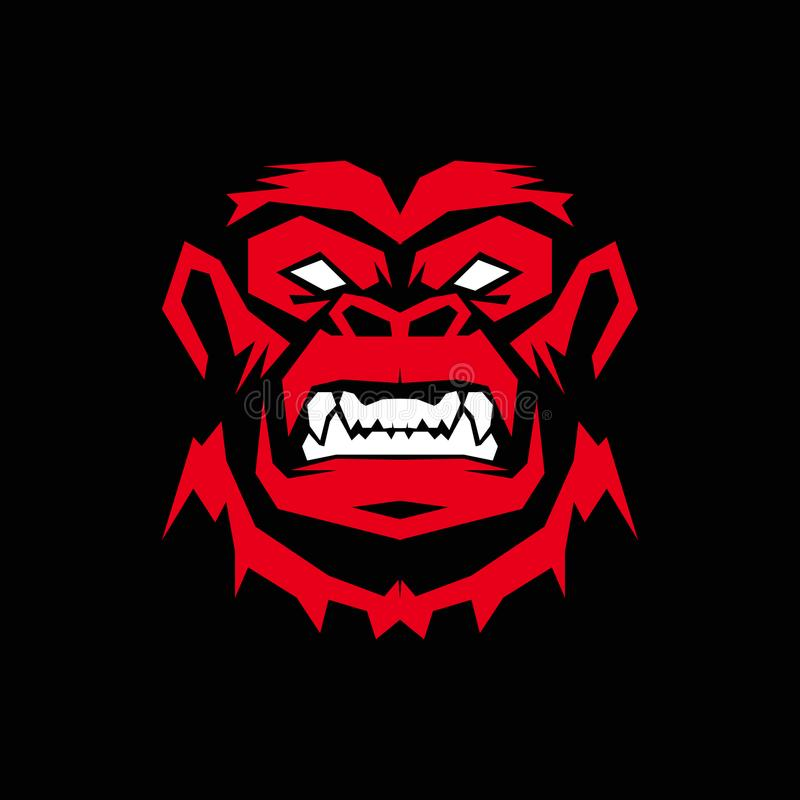 Gorilla Logo-ontwerp, aapembleem royalty-vrije illustratie
