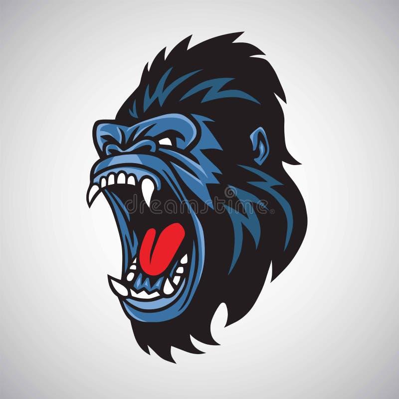 Gorilla Mascot Cartoon Logo Vector fâché illustration libre de droits