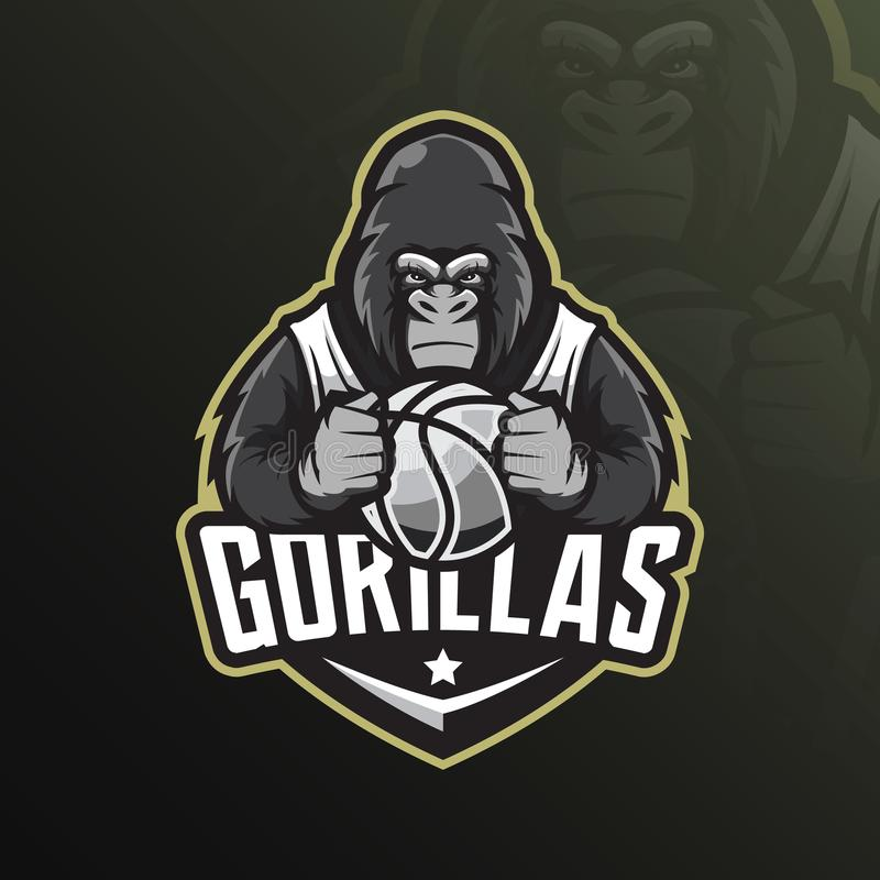 Gorilla mascot logo design vector with modern illustration concept style for badge, emblem and tshirt printing. angry gorilla vector illustration