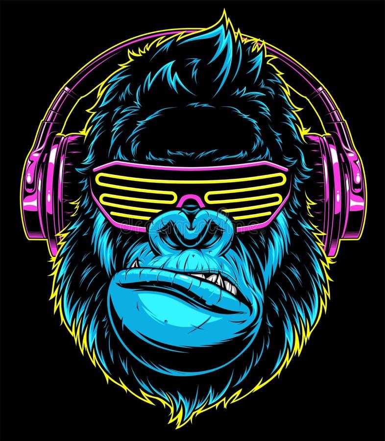 Gorilla met hoofdtelefoons vector illustratie