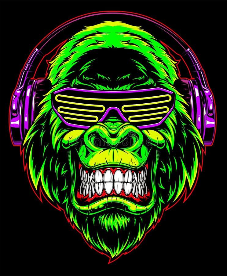 Gorilla met hoofdtelefoons stock illustratie