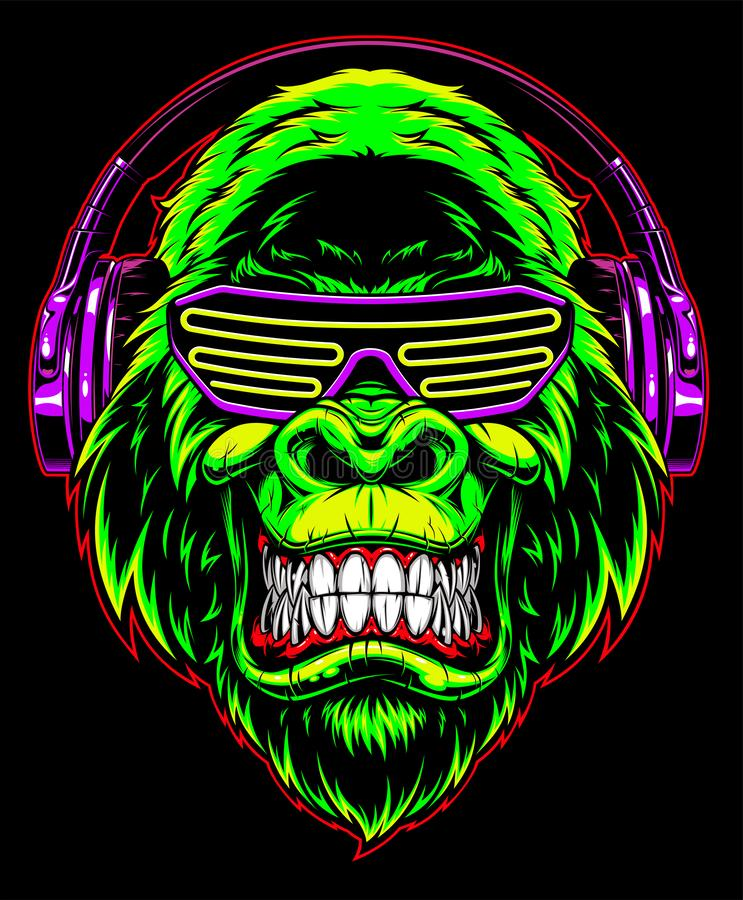Gorilla mit Kopfh?rern stock abbildung
