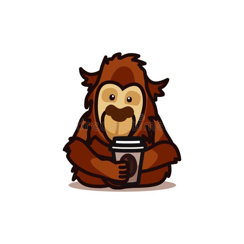 Gorilla monkey drinking coffee royalty free stock images