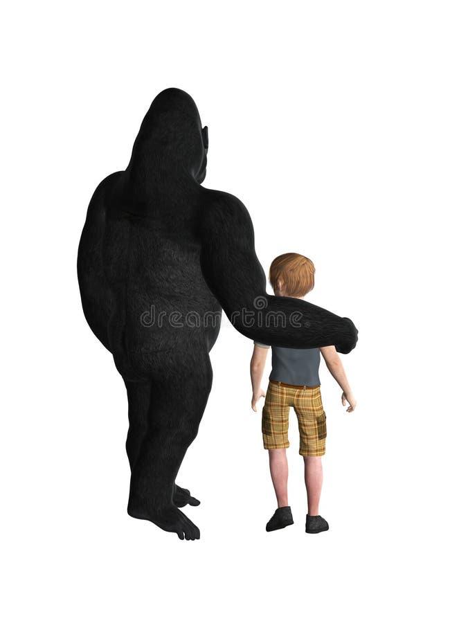 Gorilla Protecting A Child royalty free illustration