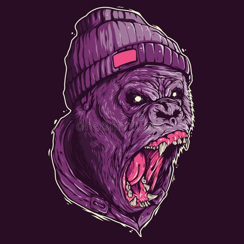 Gorilla Screaming Illustration lizenzfreie abbildung