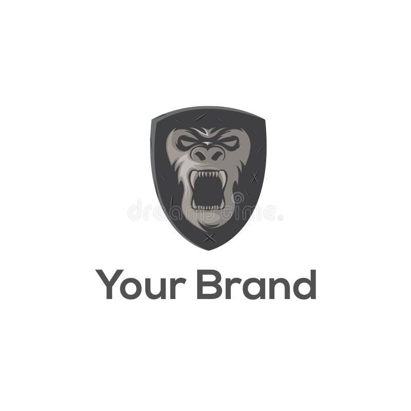 Gorilla Shield-de vector van het embleemmalplaatje stock illustratie
