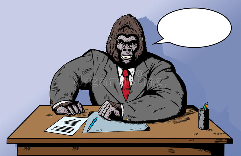Download Gorilla in suit at desk stock vector. Illustration of cartoon - 14647111