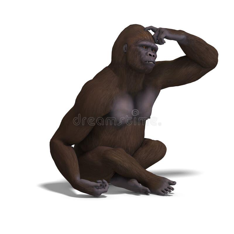 Download Gorilla thinking stock illustration. Image of perching - 15408787