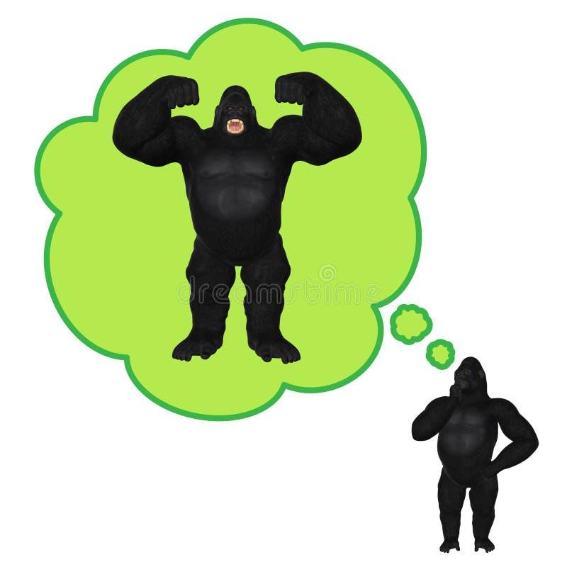 Gorilla Thinking Bodybuilding Pumping Up Muscles l'illustration illustration de vecteur