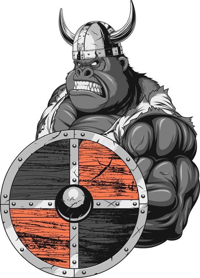 Gorilla Viking feroz stock de ilustración