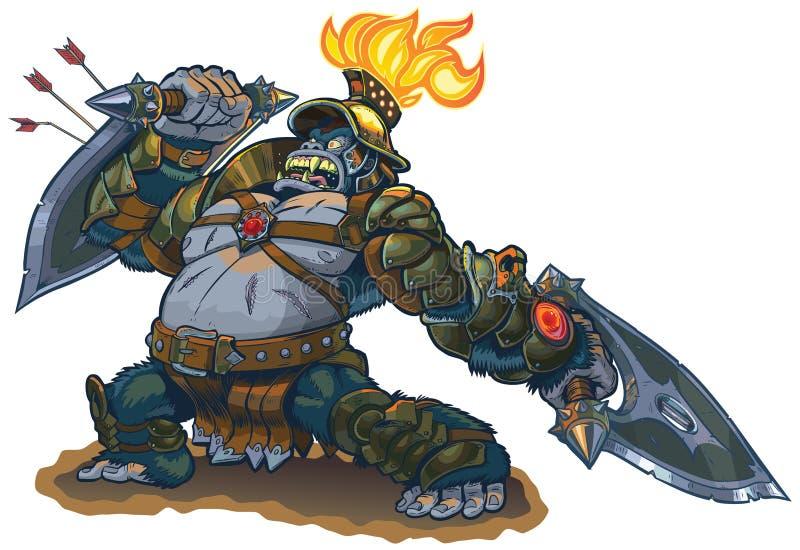 Gorilla Warrior Fantasy Vector Illustration royalty free illustration