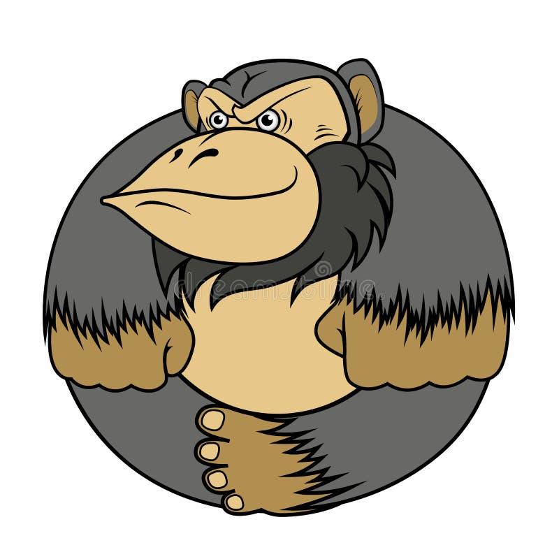 Gorillaapa som stiliseras som en cirkel royaltyfria foton
