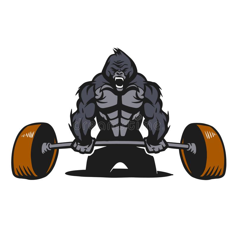 Gorillabodybuilder met een barbell vector illustratie