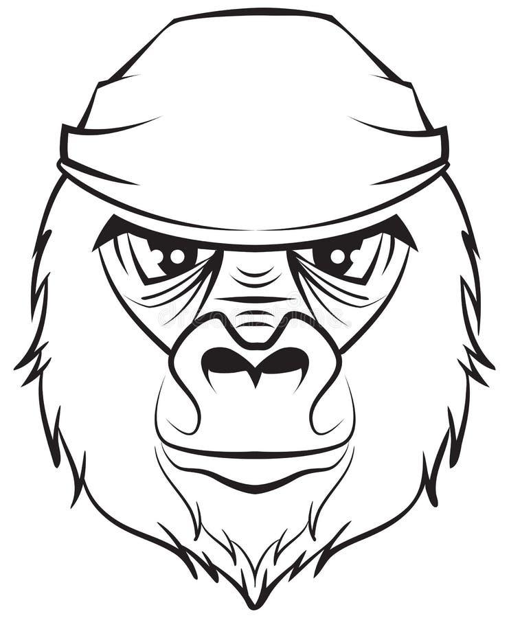 Gorillahoofd Zwart-witte tekening royalty-vrije illustratie
