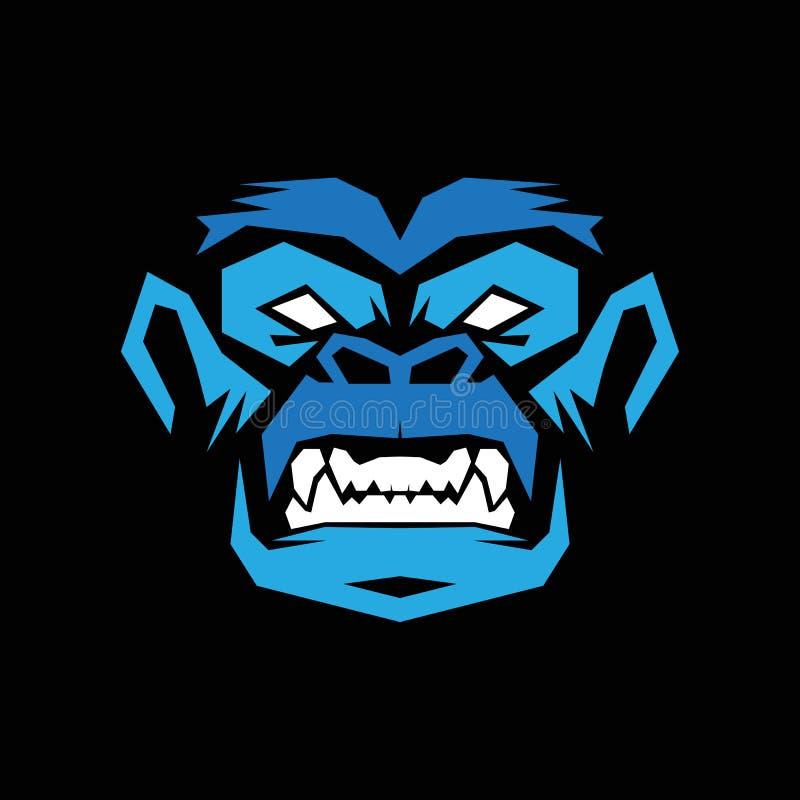 Gorillahuvud, apahuvud, apaframsidalogo royaltyfria bilder