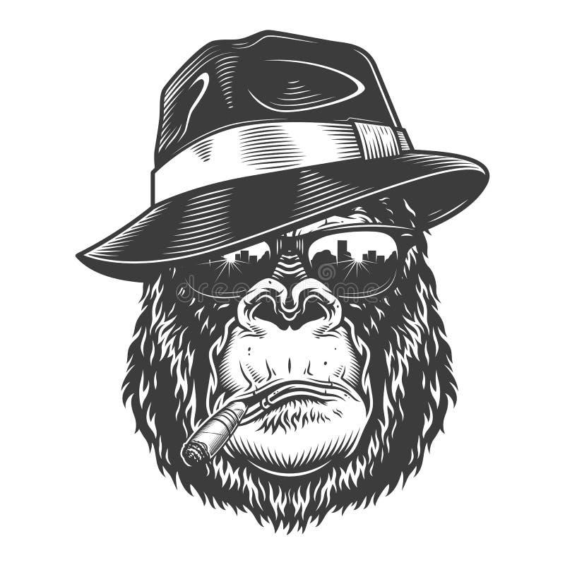 Gorillahuvud i monokrom stil vektor illustrationer