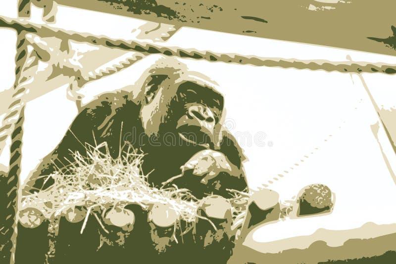 gorillaillustrationvektor royaltyfri illustrationer