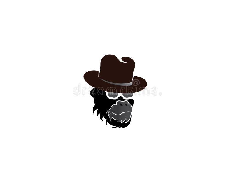 Gorillakopf, der einen Hut und Gläser für Logoentwurf trägt stock abbildung