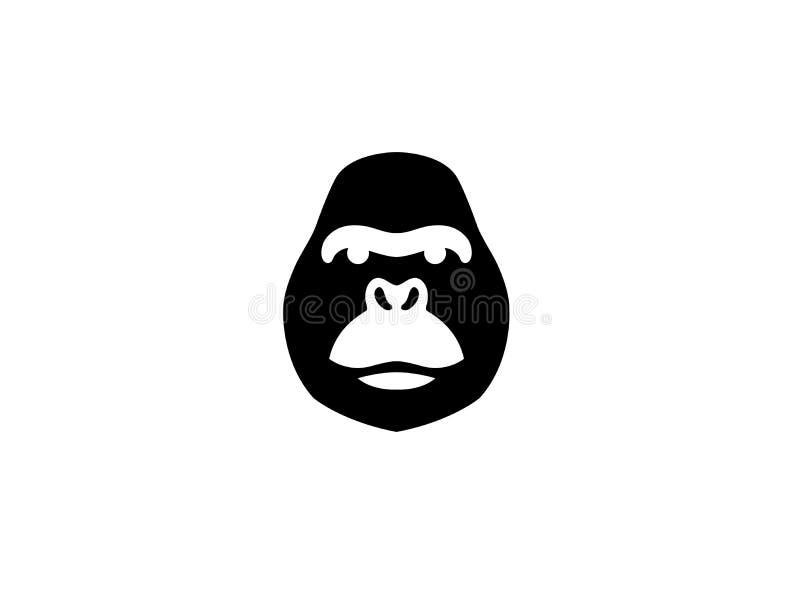 Gorillakopf mit verärgertem Gesicht für Logoentwurf lizenzfreie abbildung